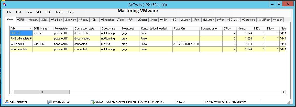 VM Monitoring using RV Tools   Mastering VMware