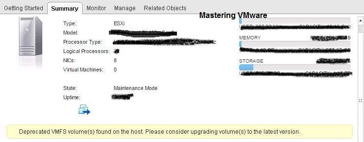 Deprecated VMFS volumes found on the host