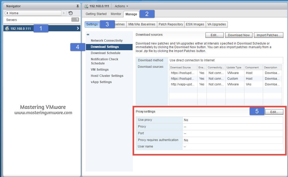 Configure Proxy in VUM | Mastering VMware