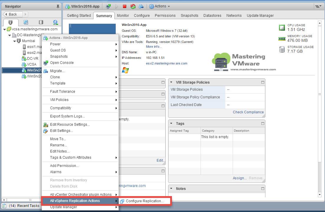 Configure VM Replication | Mastering VMware
