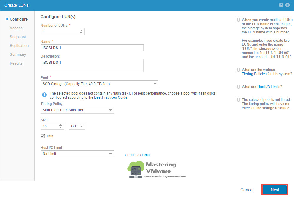 Create LUN in EMC UnityVSA step by step | Mastering VMware