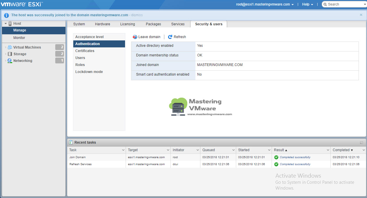 Join ESXi Host into AD Domain | Mastering VMware