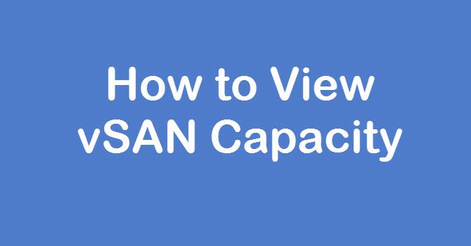 View vSAN Capacity