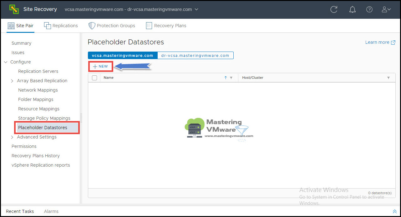 Configure placeholder datastore in srm