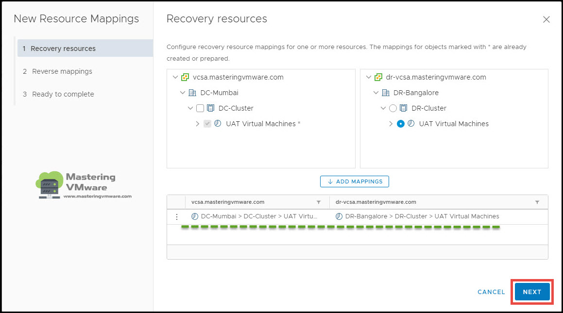 configure resource mappings in srm