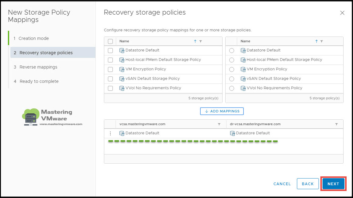 configure storage policy mappings in SRM