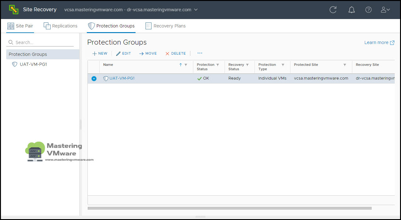 create protection group in srm