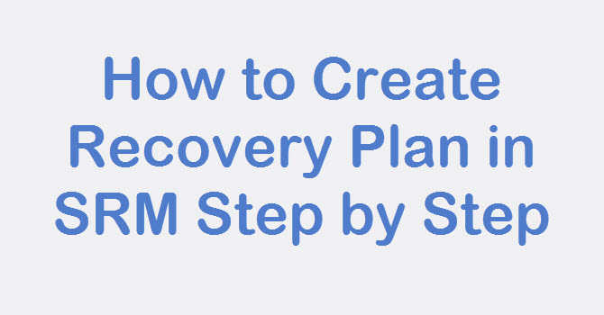 create recovery plan in srm