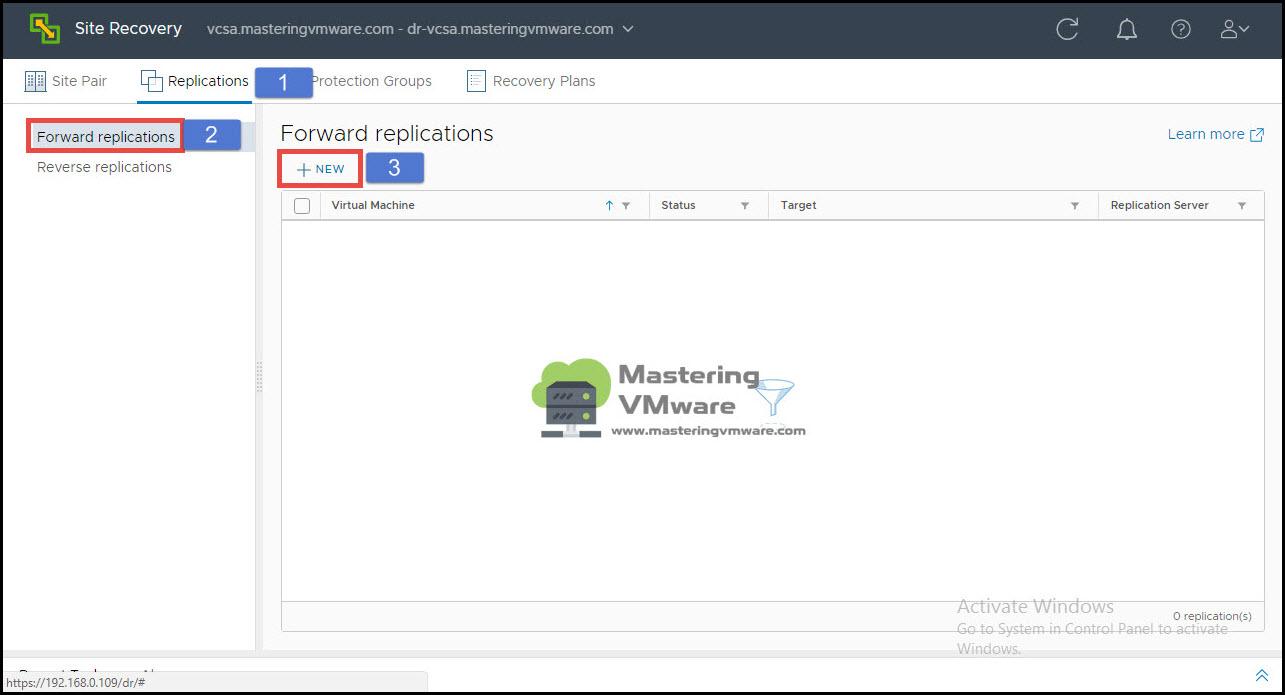 configure vm replication