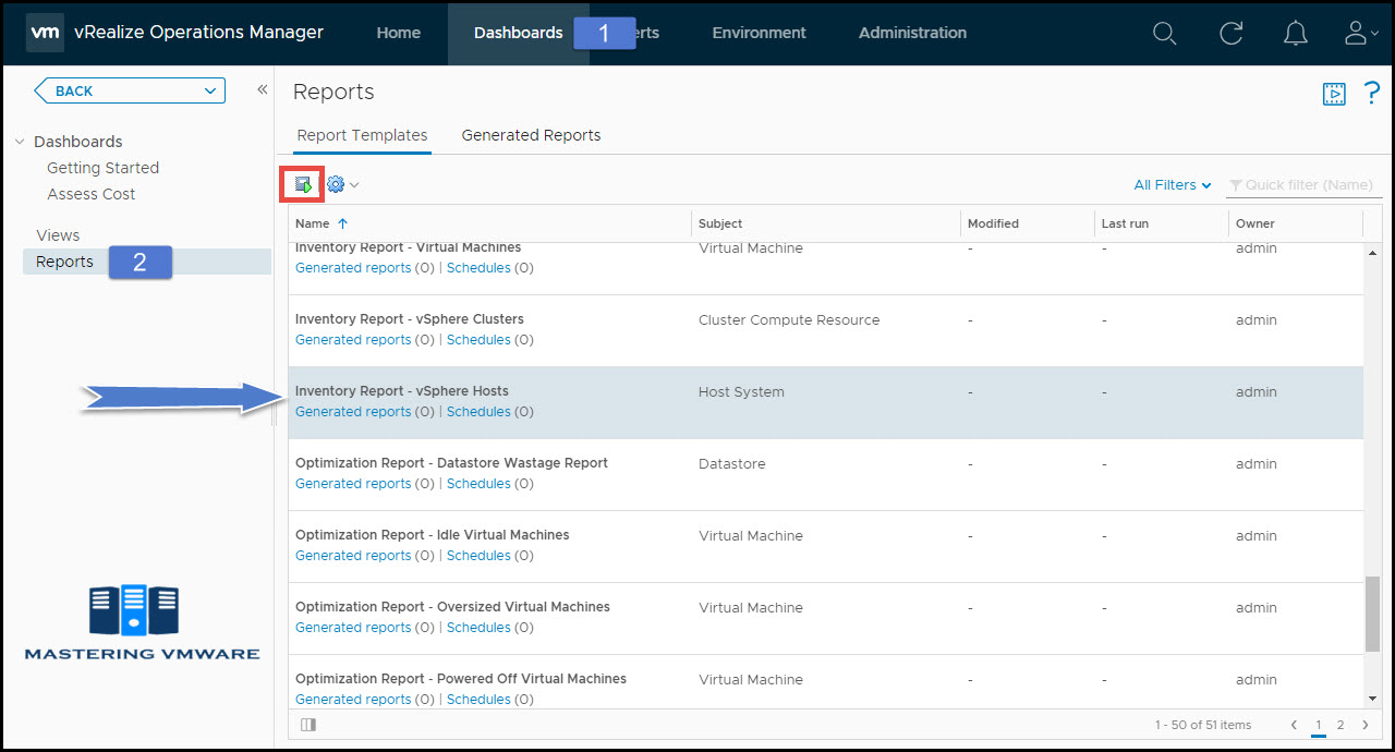 generate reports in vRealize Operations Manager