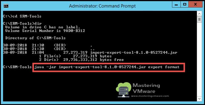 export srm configuration
