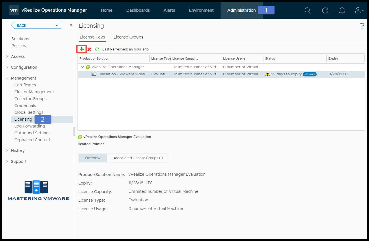 assign license to vrealize operations manager