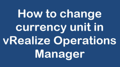 change currency in vrops