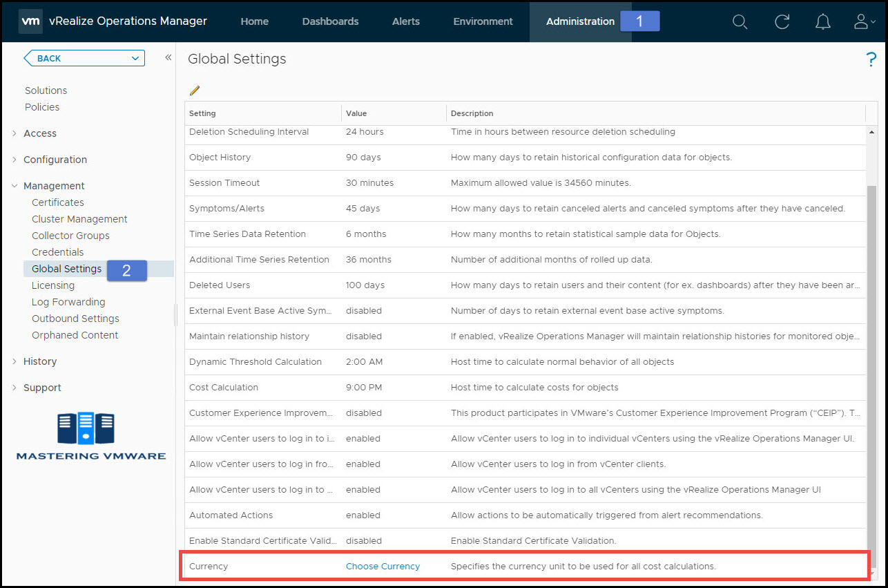 change currency in vRealize Operations Manager