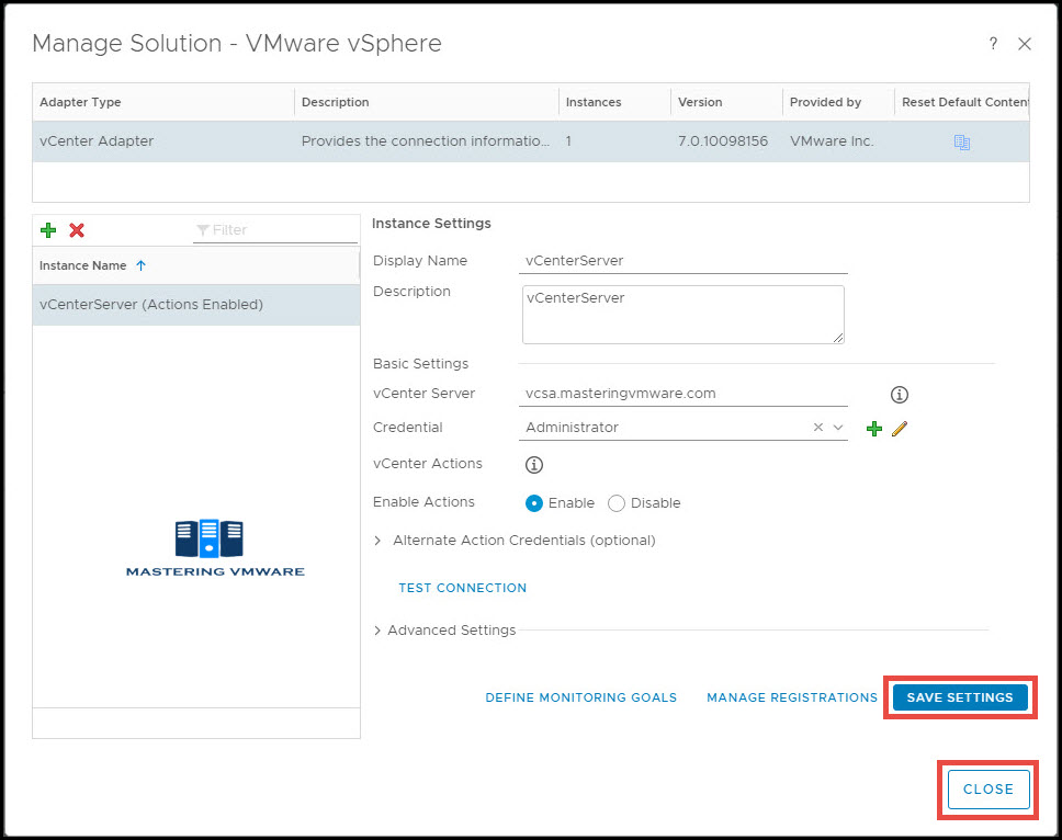 configure vcenter in vrealize Operations Manager