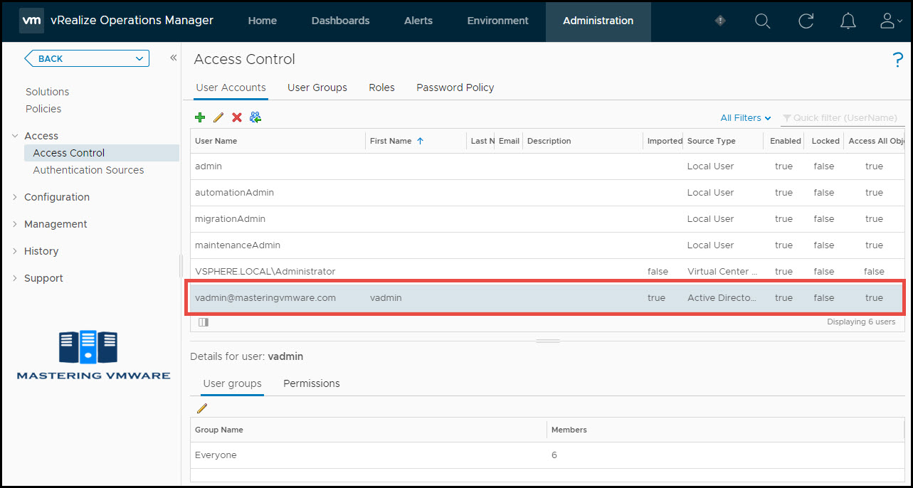 import ad users in vrops