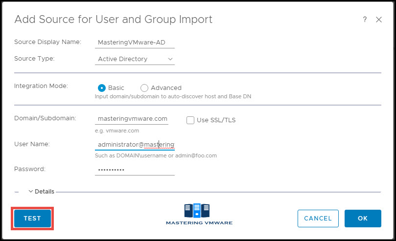 integrate active directory with vROPS