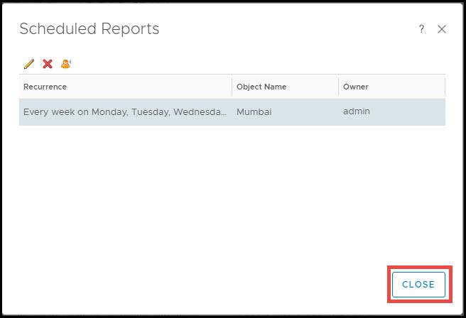 schedule report in vrops