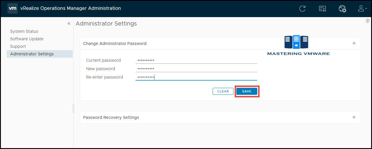 change admin password in vrops