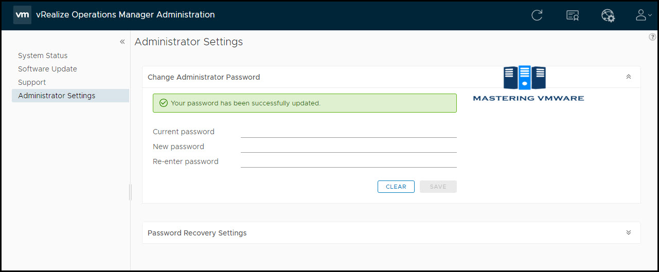 change admin password in vrops