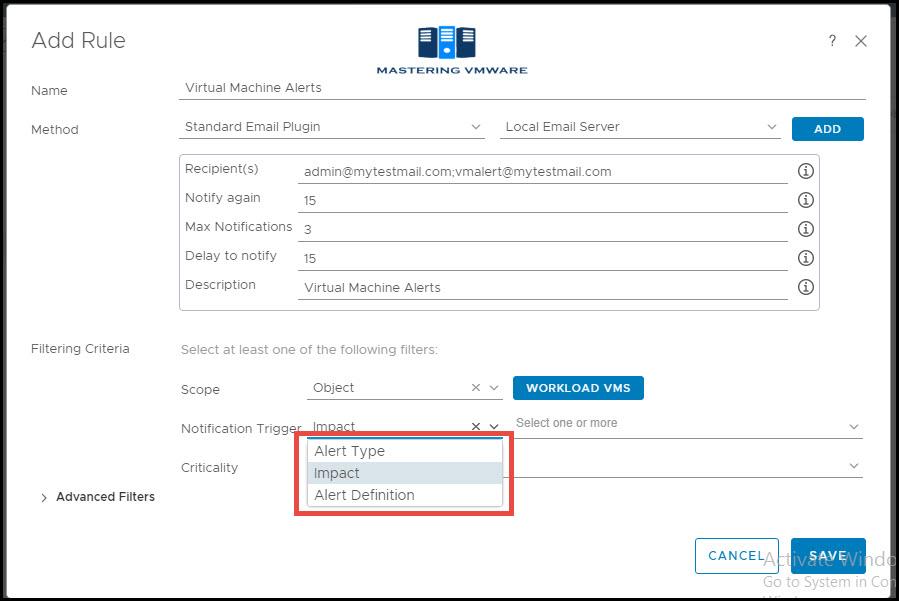 vrops configure alert notifications