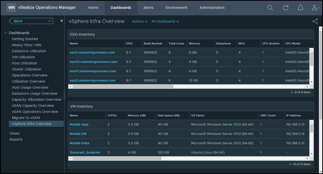 vrealize Operations Manager Dark Theme