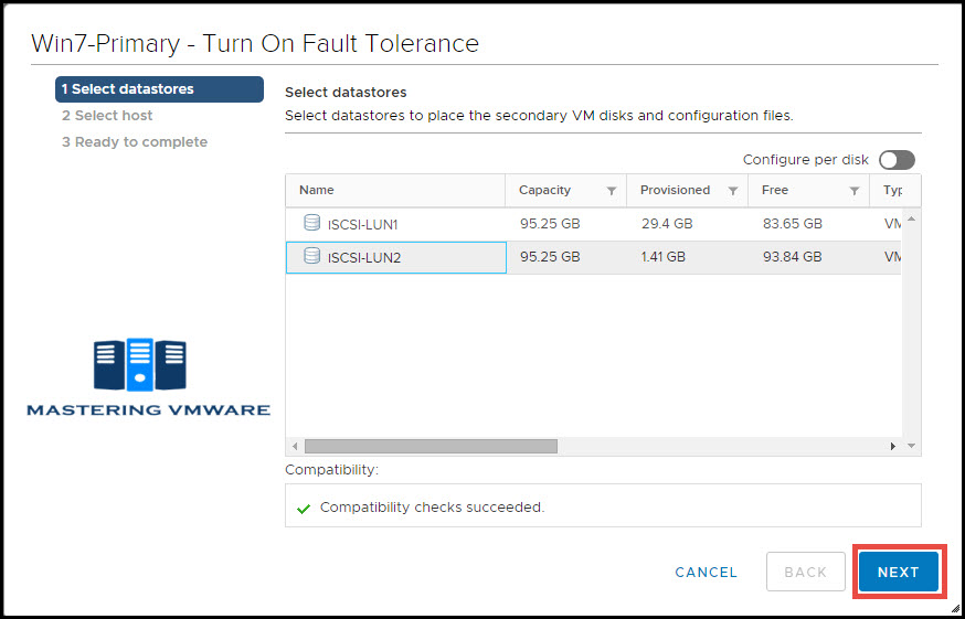 configure ft in vmware
