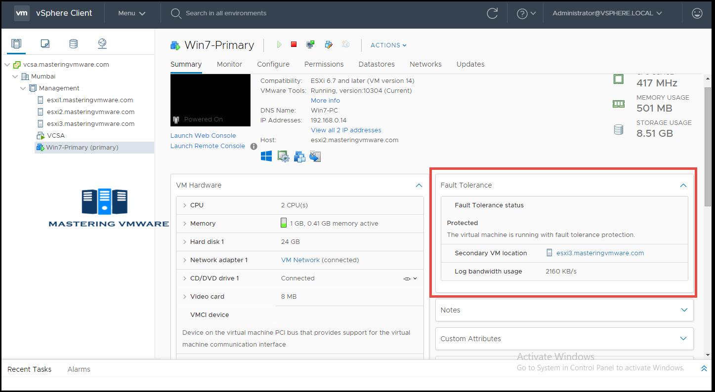 configure ft in vmware