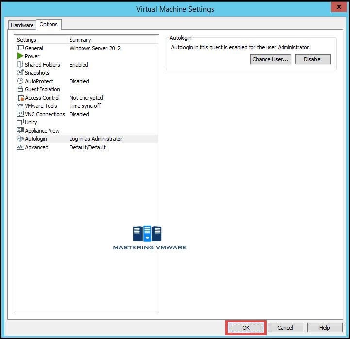 VMware workstation auto login
