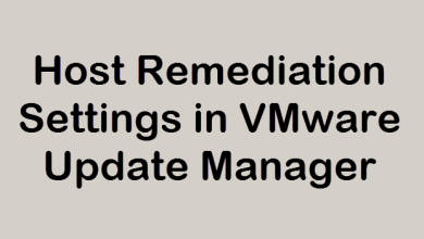 Photo of Host Remediation Settings in VMware Update Manager