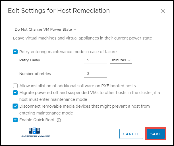 host remediation settings Update Manager