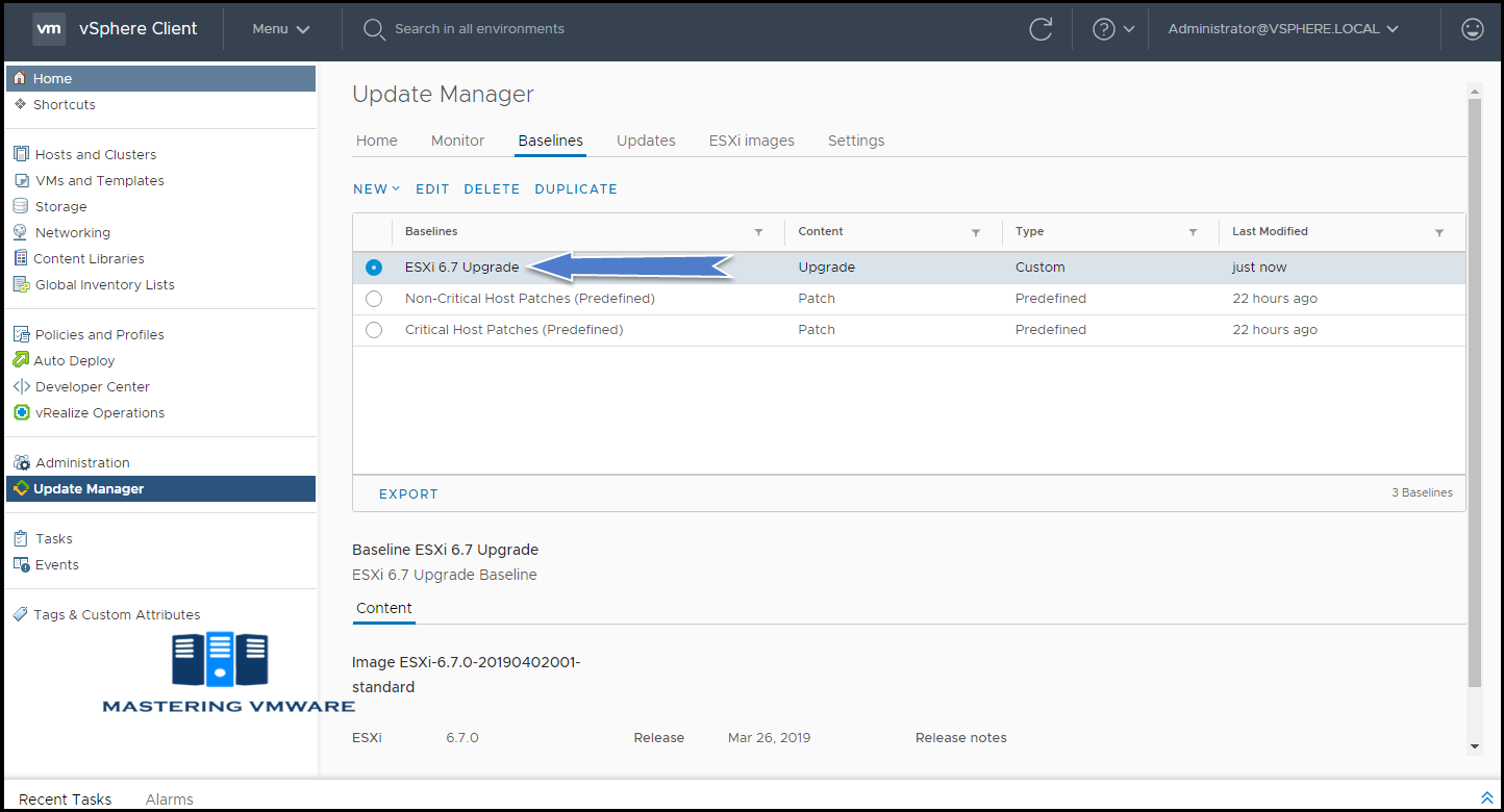create baseline in update manager