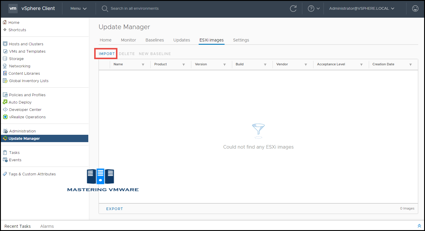 Import ESXi Images in Update Manager
