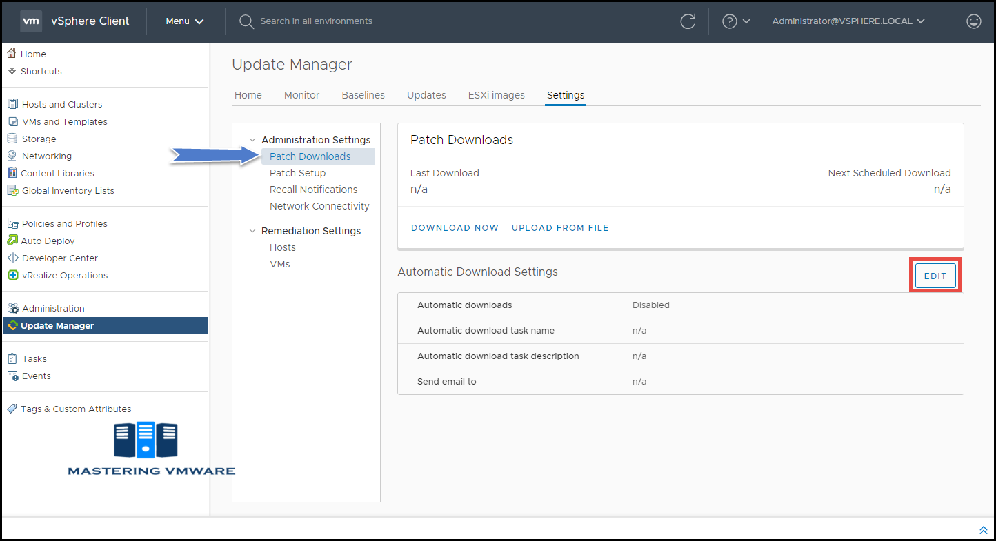 configure patch downloads update manager