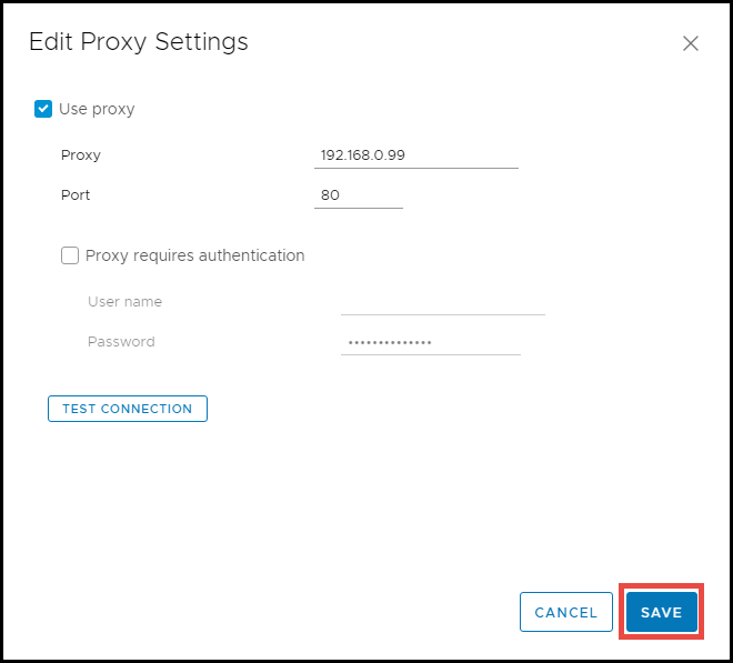 configure proxy settings in Update Manager