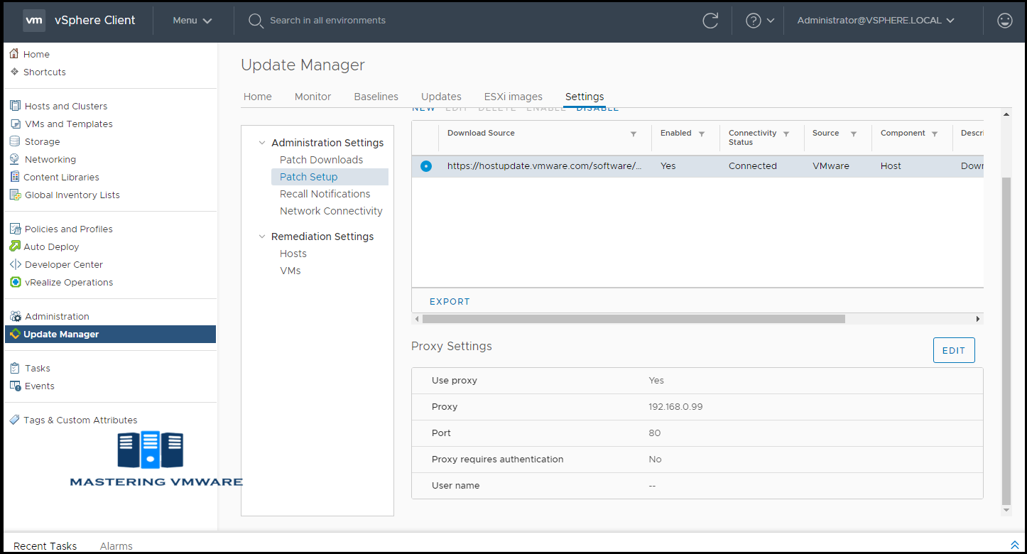 vmware update manager patch setup