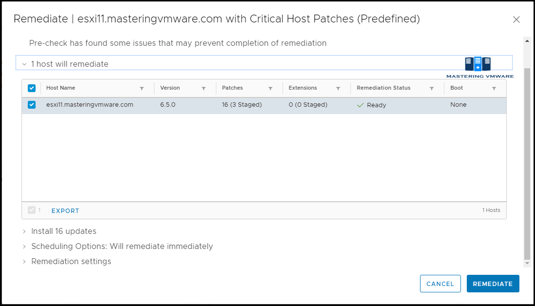 Patch ESXi host using VMware Update Manager