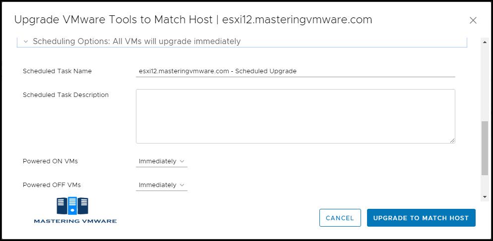 upgrade vmware tools using vmware update manager