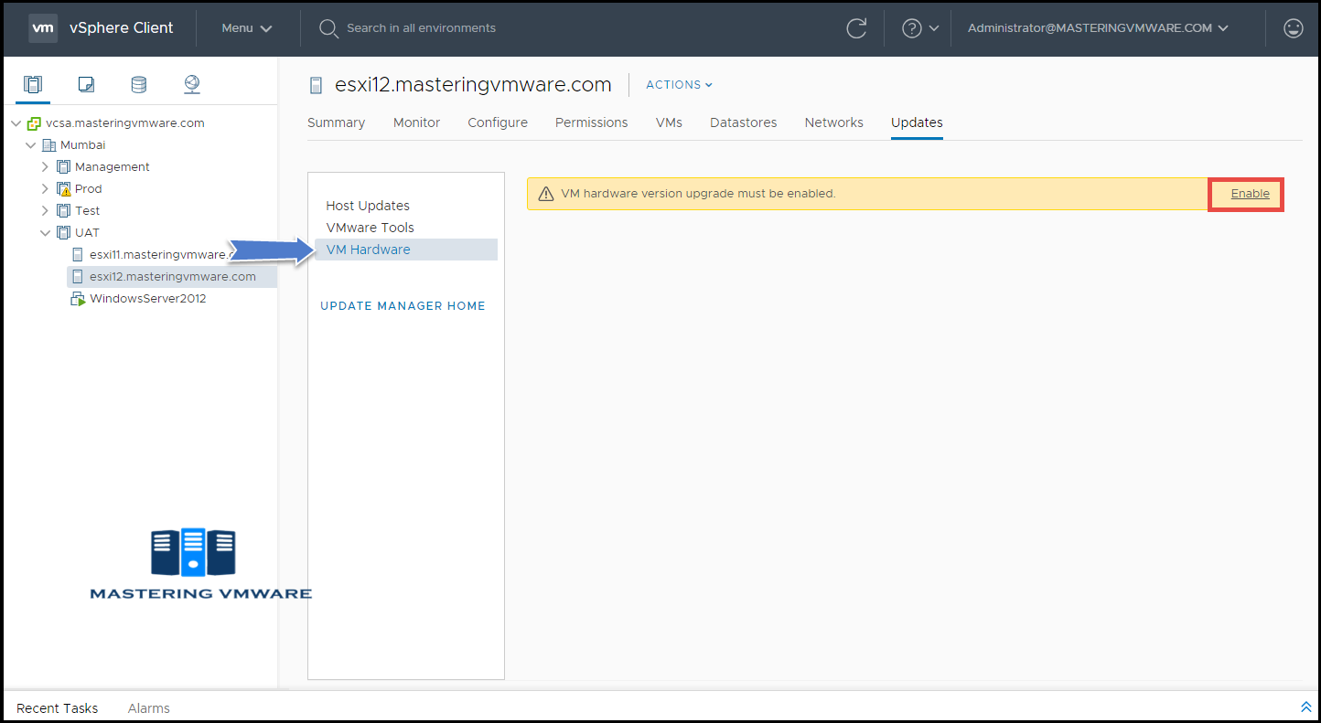 upgrade vm hardware using vmware update manager