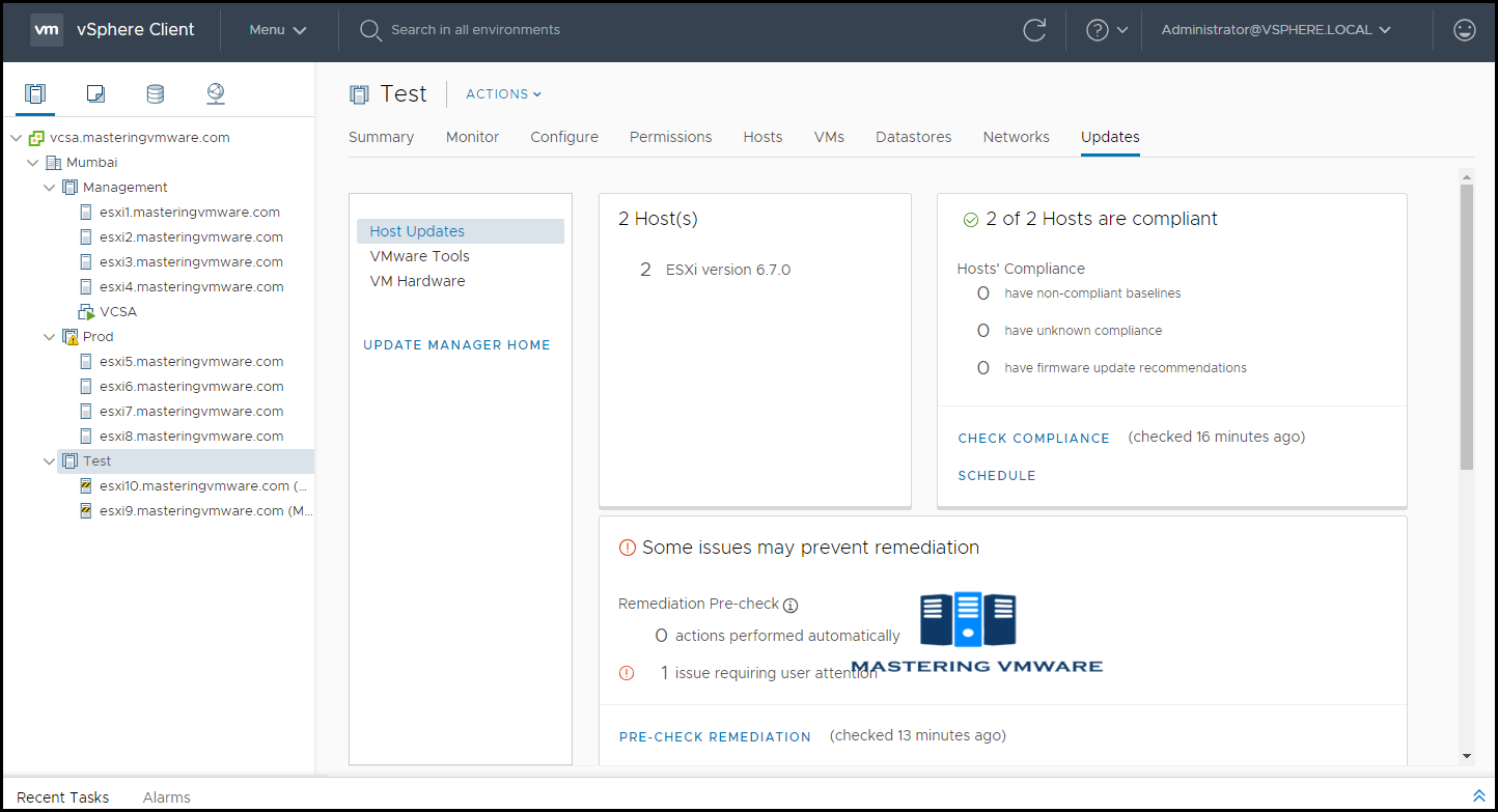 Remediate ESXi Hosts VMware Update Manager