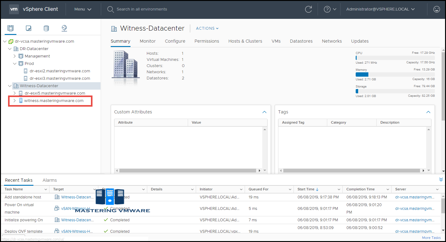 add vsan witness into vcenter server