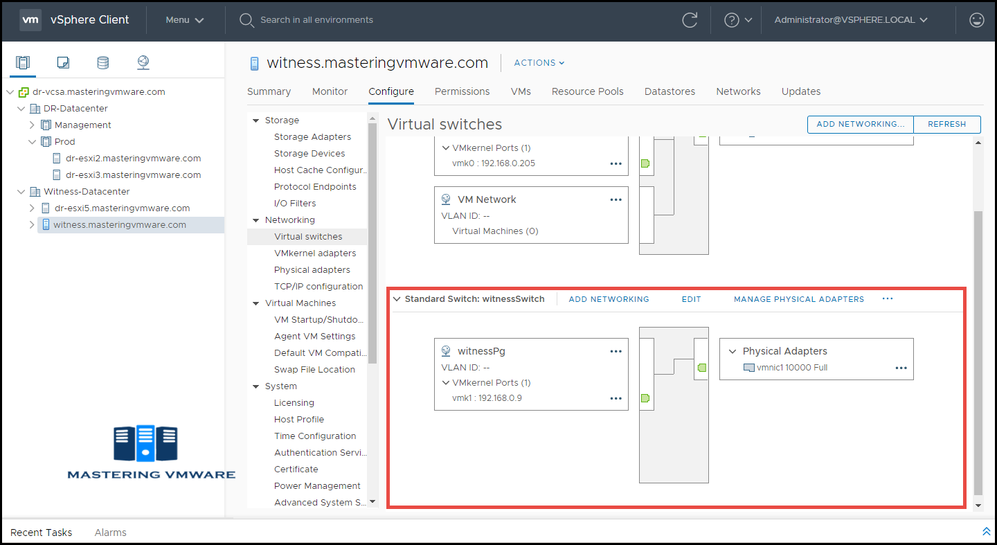 vsan witness appliance networking
