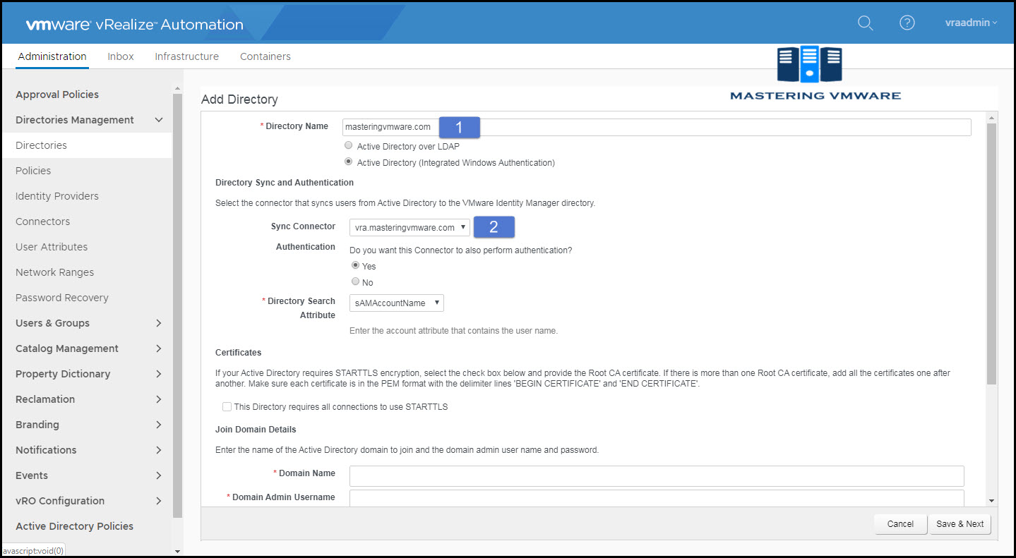 integrate active directory in vra