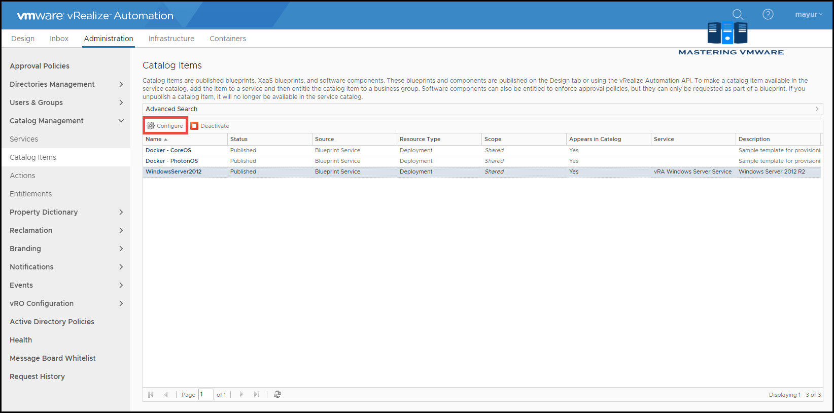 configure catalog items in vra