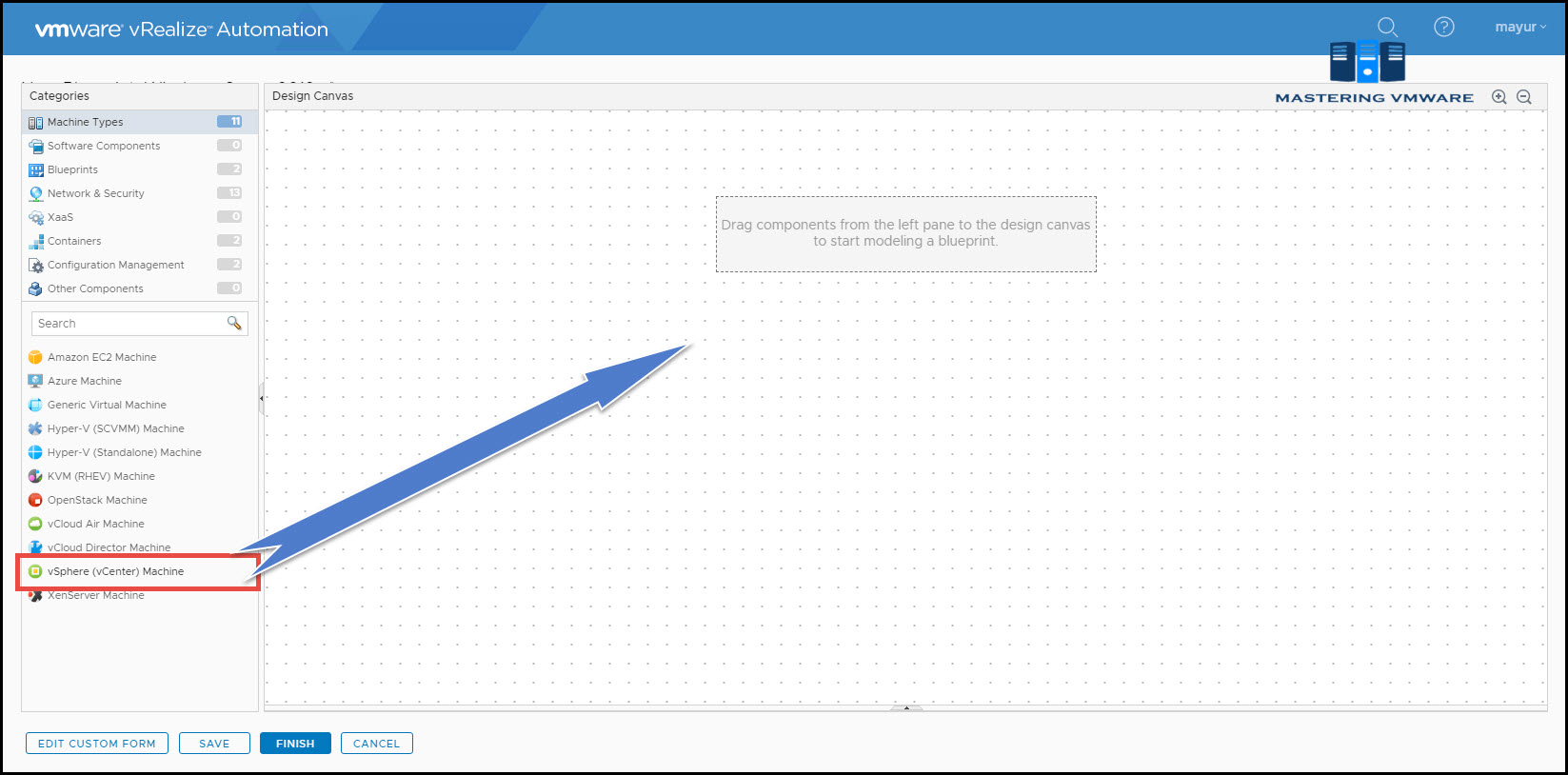 create blueprint in vra