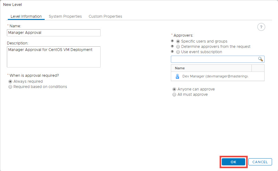 create approval policy in vra