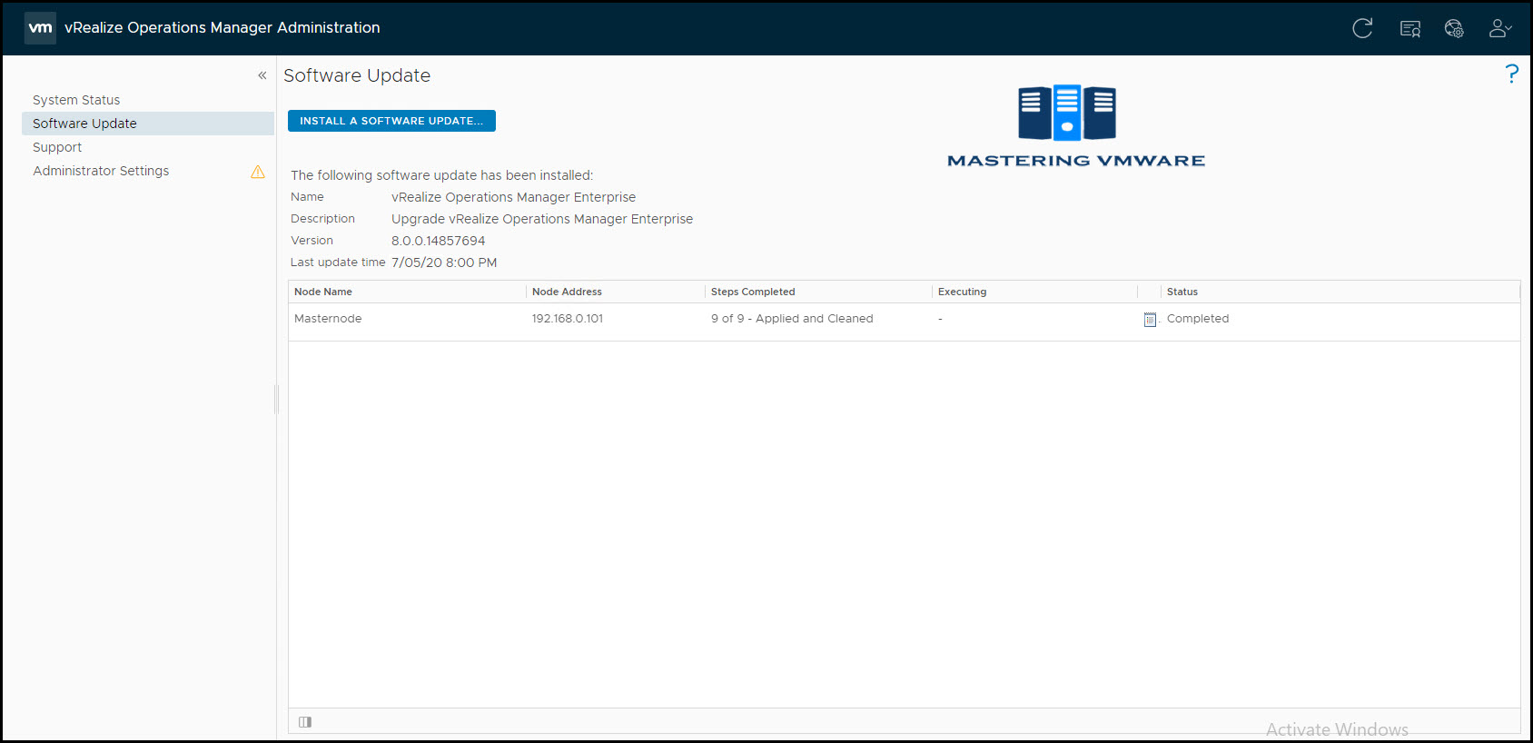vrealize operations manager upgrade